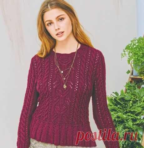 Красивый пуловер с баской. Спицы