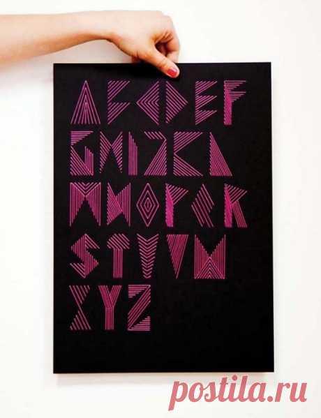 Необычный вышитый алфавит Модная одежда и дизайн интерьера своими руками