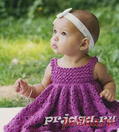 Пышное детское платье крючком
