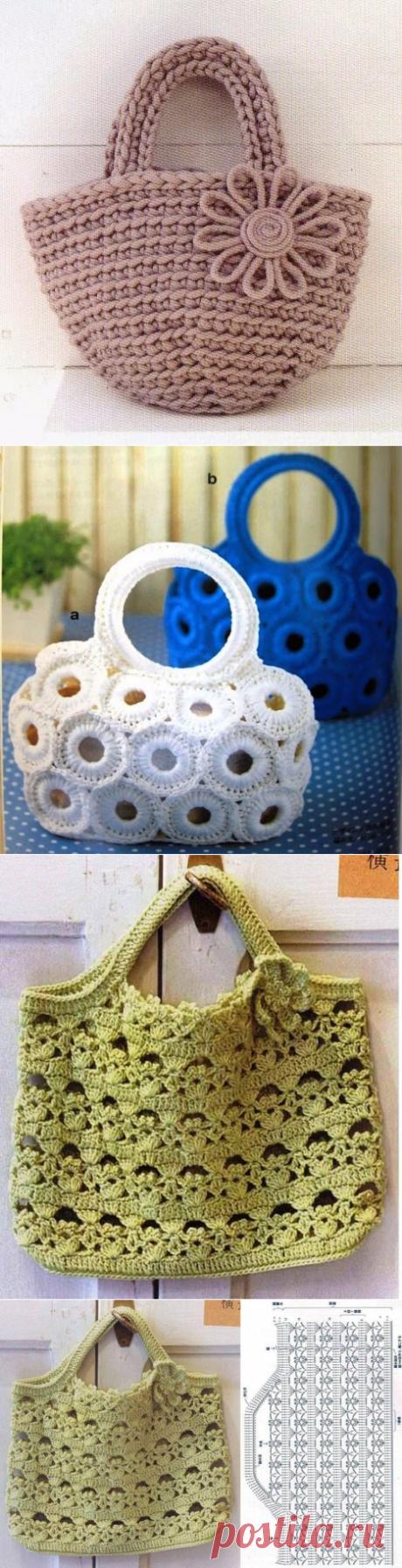 Много красивых сумок-схемы для вязания крючком