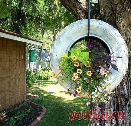 Идеи применения покрышек в саду