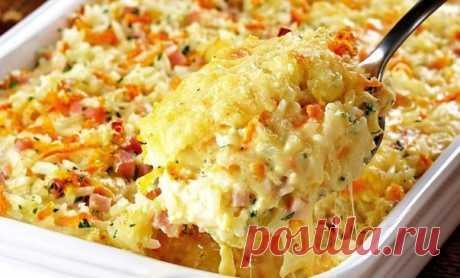 Как приготовить запеканка из риса, ветчины и сыра - рецепт, ингредиенты и фотографии