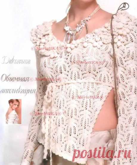 Блуза от Лидии Соселия на основе узоров Хитоми Шида - вязание спицами для подиума + 4 аналогичных узора и две модели