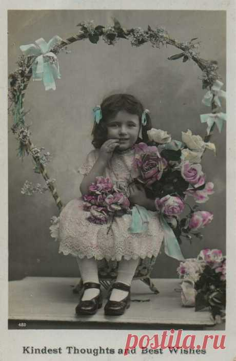 Kindest Thoughts and Best Wishes 1909 | Fotografia Niños y Niñas Vintage Postcard | Thoughts, Vintage cards and Vintage images