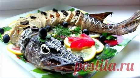 Фаршированная Щука запеченная в духовке / Stuffed Fish Recipe Фаршированная рыба,в большинстве случаев, праздничное блюдо, но, по желанию, ведь можно приготовить и небольшую щучку, просто так, порадовать родных) В приго...