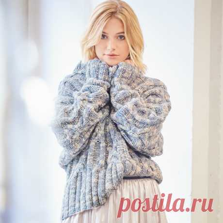 Меланжевый свитер с крупными «косами» - схема вязания спицами. Вяжем Свитеры на Verena.ru