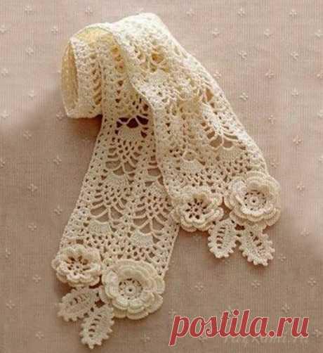 Ажурный шарфик (Вязание крючком) – Журнал Вдохновение Рукодельницы