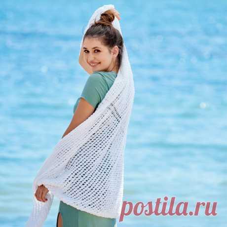 Белая сетчатая шаль - схема вязания спицами с описанием на Verena.ru