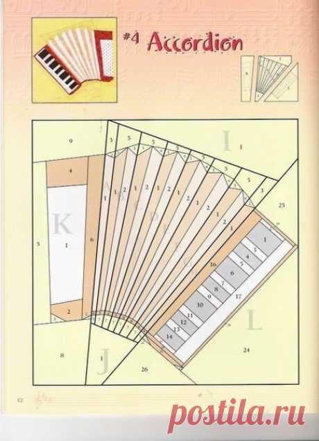 Подборка блоков для шитья по бумаге Музыкальные инструменты