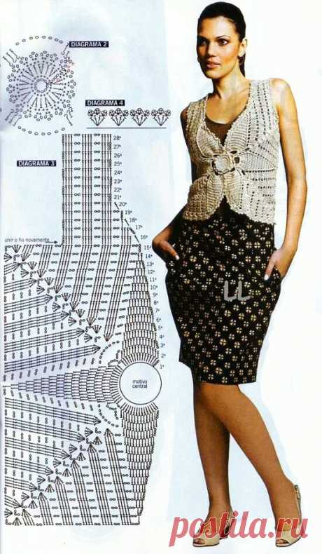 Жилет с вывязанным цветком Лилия крючком – схемы с описанием - Пошивчик одежды Жилет с вывязанным впереди цельным цветком Лилия понравится всем представительницам слабого пола, которые понимают и создают свой стиль. Девушки, понимающие
