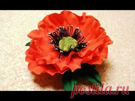 Fabric flowers how to make:poppy flower from fabric\/tutorial\/Цветы de la tela: la amapola\/mk inarrugable