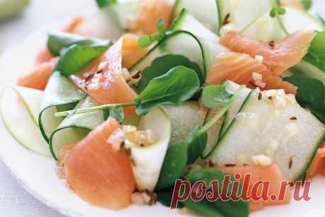 Салат из копченого лосося и огуречной ленты-кошерные рецепты   сертификация ou Kosher