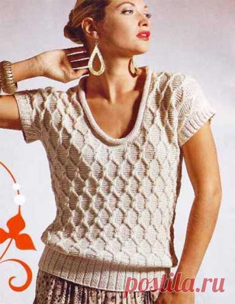 "Пуловер с коротким рукавом узором ""ромбы"""