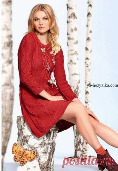 Платье с косами спицами. Платья спицами модные модели с описаниями и схемами Красное платье с косами спицами. Платья спицами модные модели с описаниями и схемами