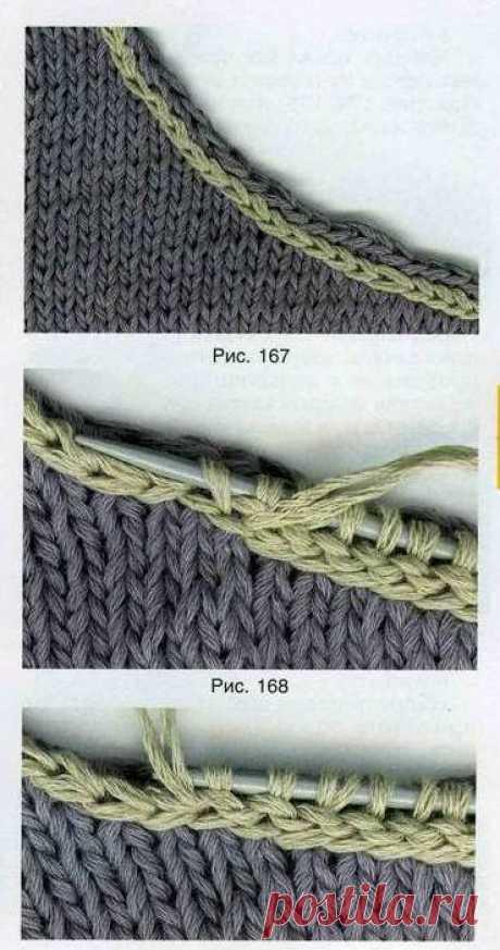 Вязание планки на круглый вырез горловины.