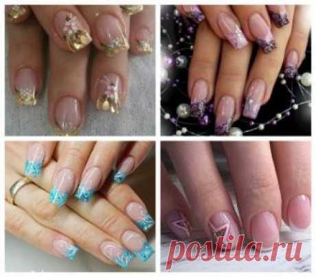 Френч с блестками - класскический и цветной дизайн ногтей