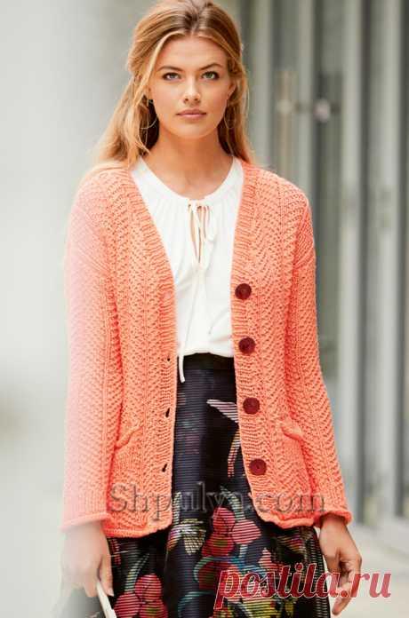 Жакет кораллового цвета с рельефным узором - SHPULYA.com