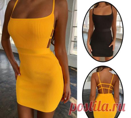 ТОП 2019. Летнее сексуальное обтягивающее вечернее платье с открытой спиной, без рукавов.  Модный дизайн, ТОП 2019, высокое качество !   Материал: полиэстер   Стиль: сексуальное облегающее платье.  Цвет: черный, желтый.  Размер: S, M, L, XL  Цена : 3.31$  Купить :   Доставка : 4.29 $  #вечернееплатье #обтягивающееплатье #сексуальноеплатье #платьевечернее #клубноеплатье #мини #модныйстиль