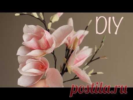 Магнолия из гофрированной бумаги, МК - запись пользователя Anna Makes Flowers (Анна) в сообществе Прочие виды рукоделия в категории Флористика, топиарии