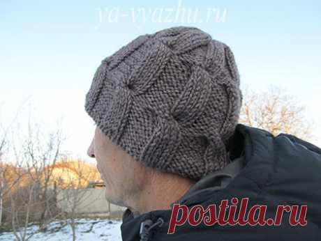 Как связать стильную мужскую шапку спицами быстро? | Вязальное настроение...
