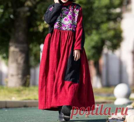 Cotton linen coat Winter Dresses, long Women dress, Oversized Loose Fitting robes, maternity Winter clothes 【Fabric】 Cotton, linen Lining Plus velvet 【Color】 red 【Size】 Shoulder width is not limited Bust 128cm / 50 Shoulder + sleeve length 66cm / 26 Cuff circumference 29cm/ 11.3 Length 128cm/ 50  Have any questions please contact me and I will be happy to help you.