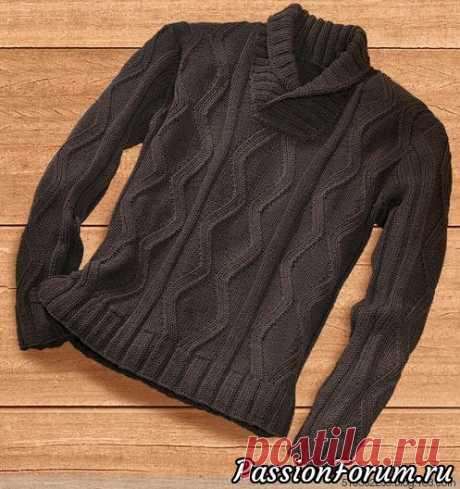 Мужской пуловер из шерсти мериноса. Описание