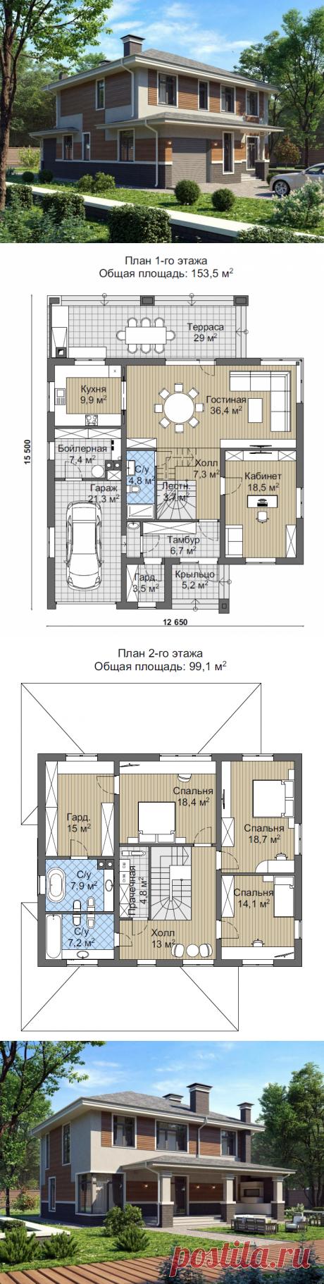 Проект двухэтажного коттеджа с тремя спальнями | Proekty.ru | Яндекс Дзен