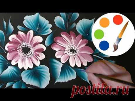 Paint the simple flowers on a black by a round brush, irishkalia