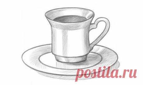 Техника рисования чашки с блюдцем