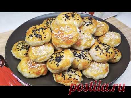 Круглые слоеные пирожки с мясом Шашечки. Супер рецепт слоеного домашнего теста - YouTube