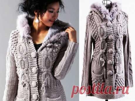 Пальто спицами с интересными узорами