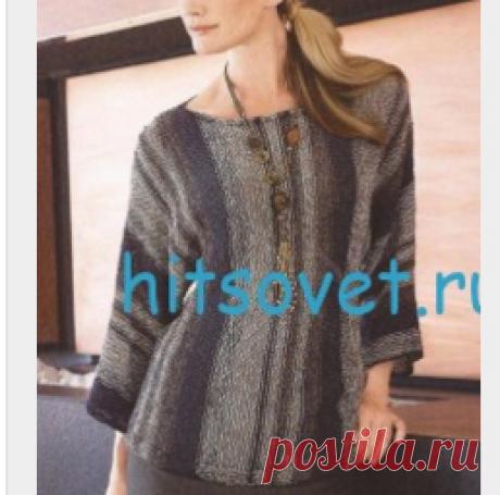 Женский пуловер спицами из пряжи Secondo