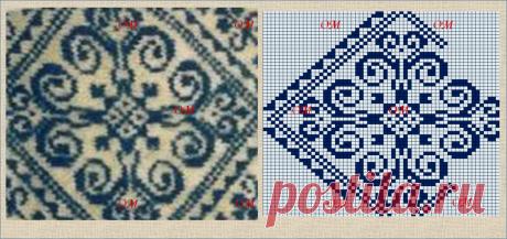 10 жаккардовых схем, составленных из узоров Роза Сельбу, взятых со старинных варежек | ЖАККАРДос | Яндекс Дзен