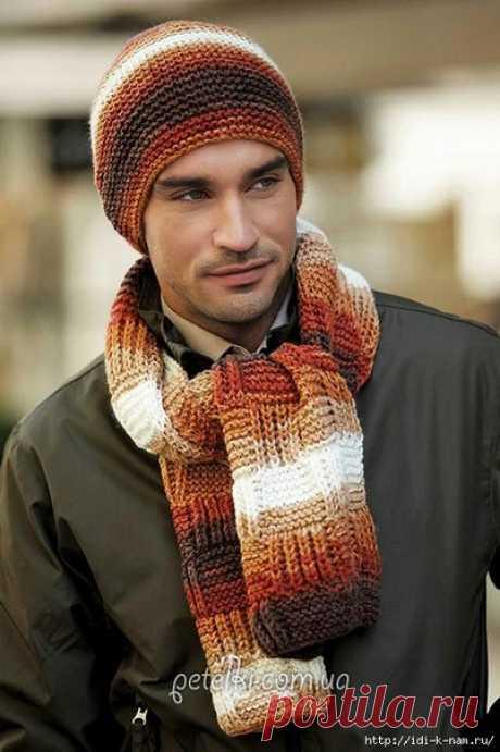 Мужские шапка и шарф спицами