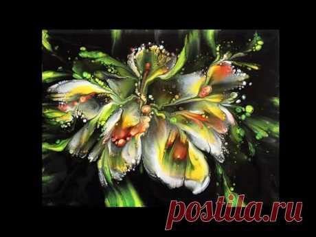 (485)colorful flowers,dip technique,Acrylgießen