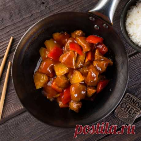 Мясо в кисло-сладком соусе с овощами - Мясные блюда