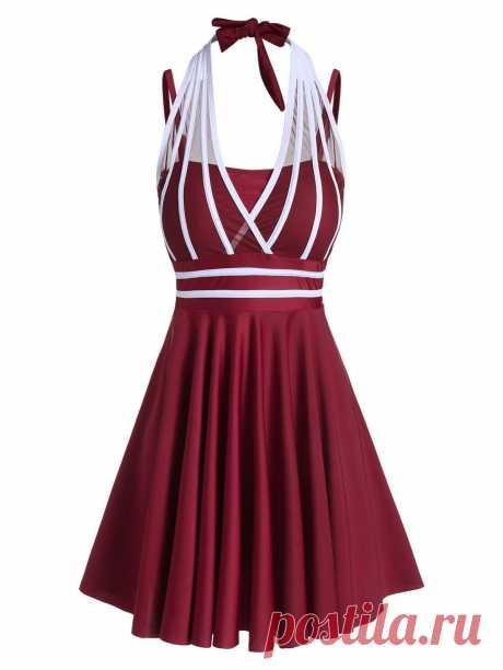 [36% OFF] 2020 Contrast Striped Mesh Insert Tankini Swimdress In RED WINE | DressLily