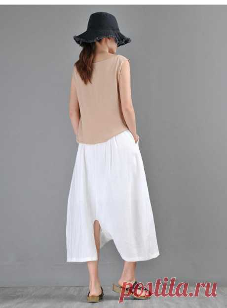 White Linen pants Irregular Wide Leg Pants High Waist   Etsy