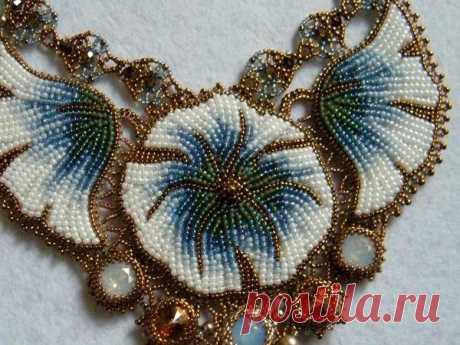 Вышиваем бисером колье «Голубые цветы» | Журнал Ярмарки Мастеров