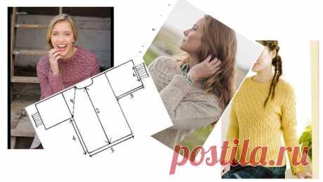 Быстрая выкройка для вязания свитера-реглан