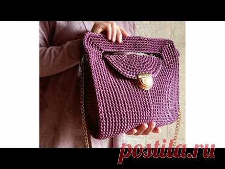 حقيبة كروشيه تصميم جديد بخيط السلسلة  crochet bag - new design