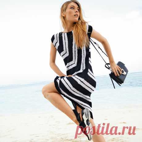 Платье в черно-белую полоску - схема вязания спицами. Вяжем Платья на Verena.ru