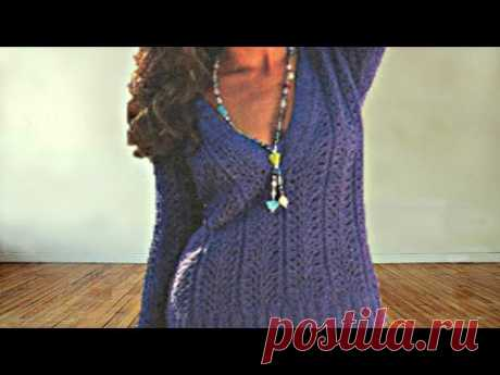 МК Узор для пончо или пуловера Королевский Павлиний Хвост или Фейерверк + схема