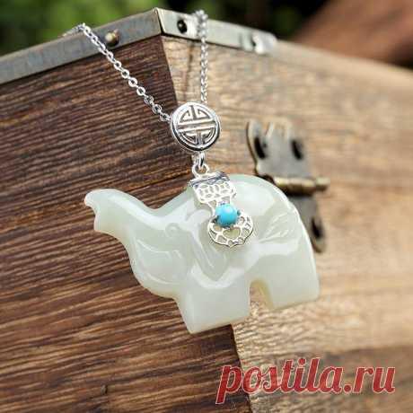 Hetian jade elephant necklace 925 silver necklace women | Etsy