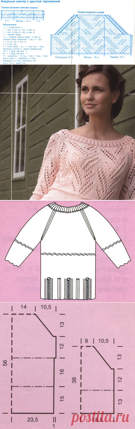Openwork sweater spokes with a round mouth.