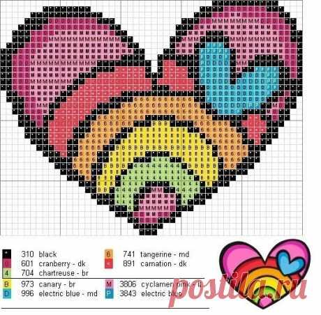 Схемы сердечек Эти схемы можно использовать для филейного вязания крючком, как жаккардовые узоры для вязания спицами, а также для вышивки крестом #crochet #knitting #филейное_вязание #жаккард #интарсия