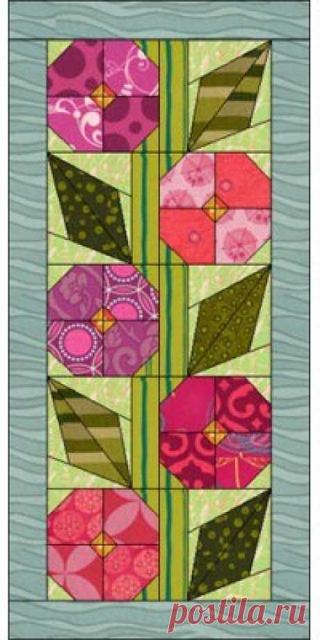 "Pretty Posies | Downloads | DoYouEQ.com       Quilt Features 2 New blocks 1 Long horizontal border 24 New fabrics from various manufacturers  The overall size is 21½"" by 45½"". Use this quilt just as is or modify it any way you"