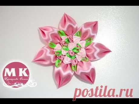 Мастер-класс Канзаши.Цветок из атласных лент c объемными лепестками/DIY.Tutorial.Kanzashi flower.
