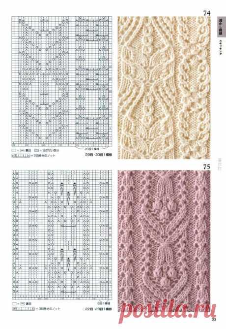 Японские ажурные узоры спицами - часть №3 - Modnoe Vyazanie ru.com