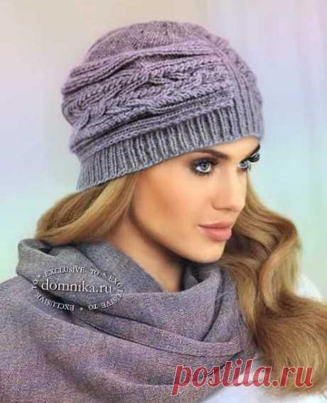 Стильная шапка - шапка-клош спицами для женщин #шапки женские красивые модели